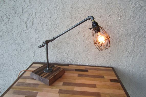 Edison trouble light desk lamp metal pipe reclaimed wood for Gas pipe desk lamp
