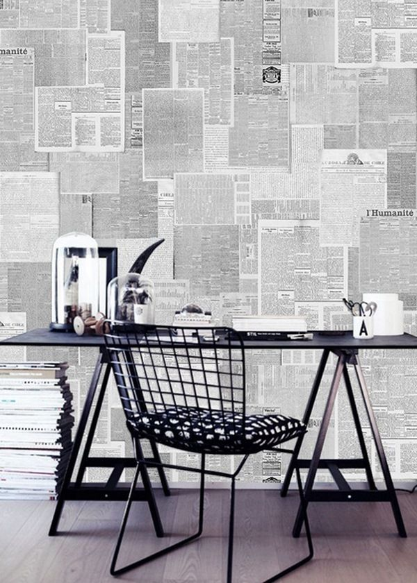 Wallpapered With Newspapers Do It Yourself Decor10 Blog Newspaper Wallpaper Newspaper Wall Diy Wallpaper