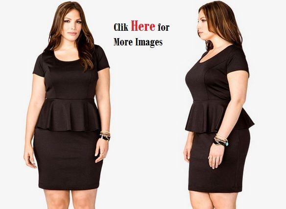 Black peplum dress plus size women sleeve length shoulder ...