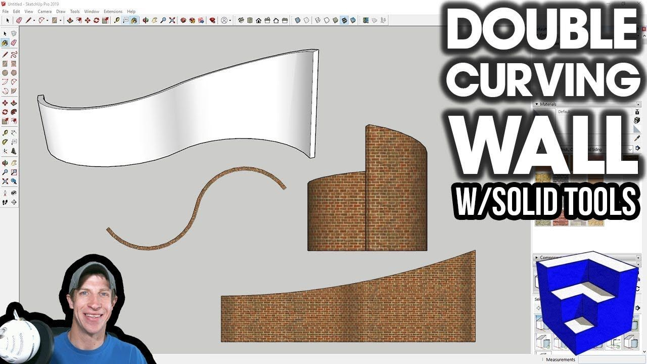 Modeling A Double Curving Wall In Sketchup With Solid Tools