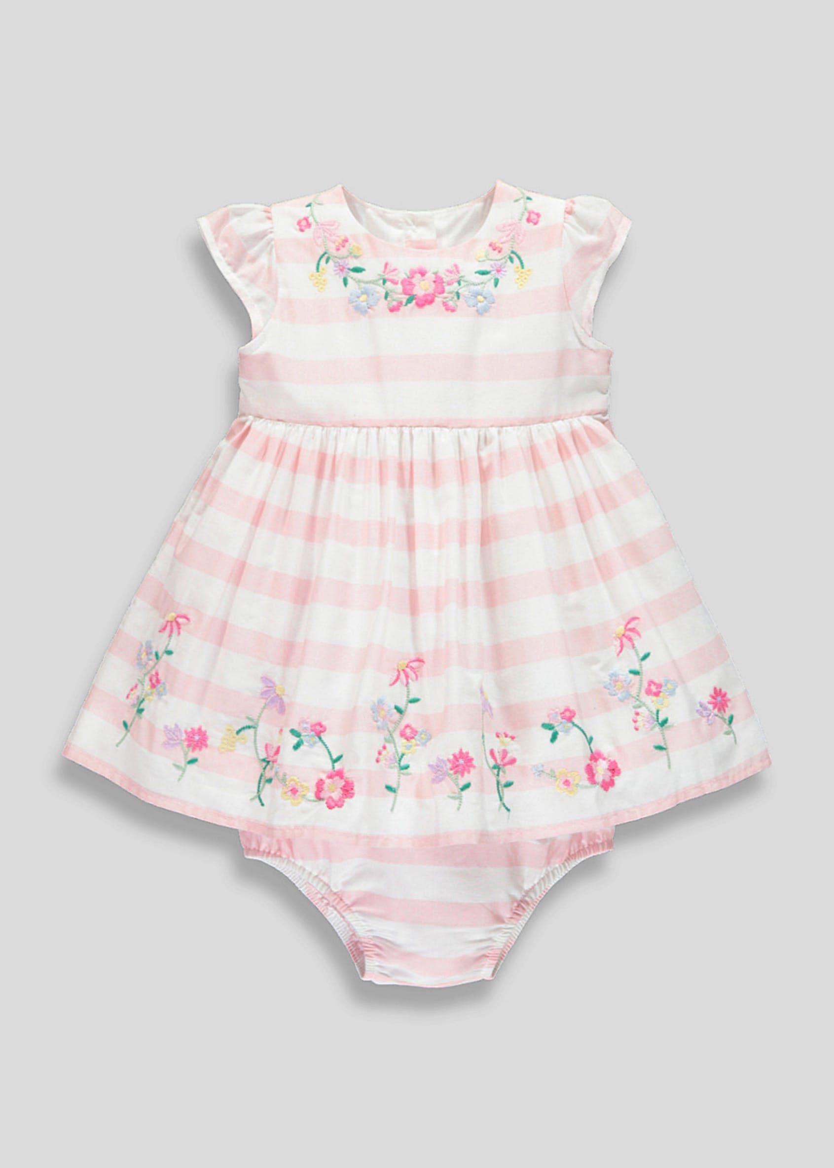 fcb64b4fb Girls Floral Embroidered Stripe Dress & Knickers Set (Newborn-18mths ...