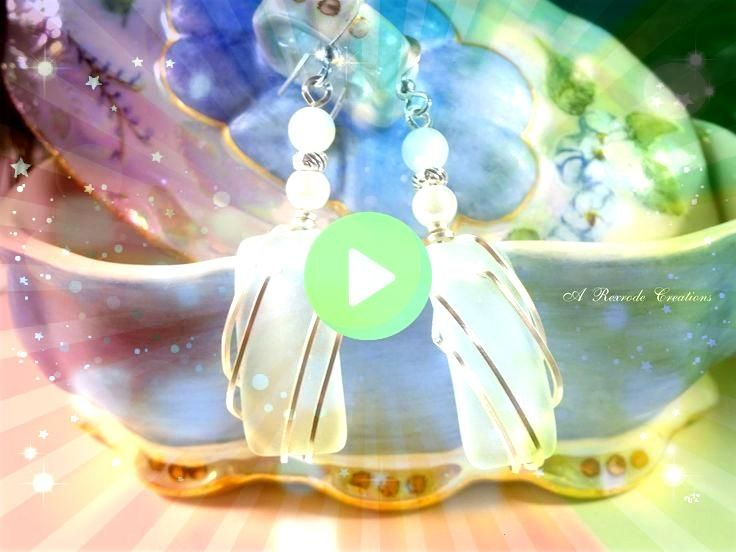 Earrings Sea Foam Wire Wrapped Cultured Sea Glass Jewelry Beach Glass Earrings Fashion Summer Earrings Sea Foam Wire Wrapped Cultured Sea Glass Jewelry Beach Glass Earrin...