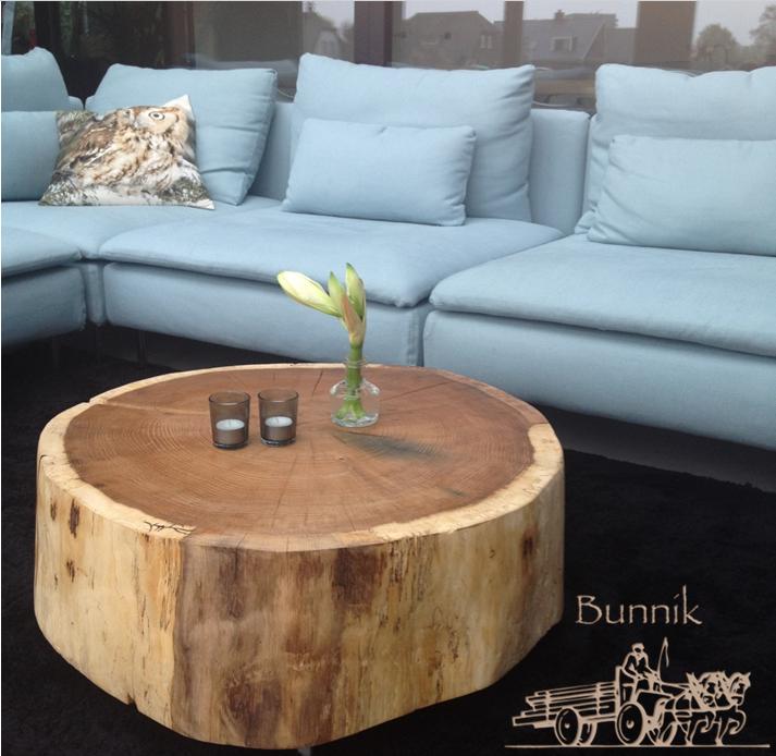 Vaak Eiken boomstam salontafel met wieltjes | Wonen - Furniture, Home &TZ86