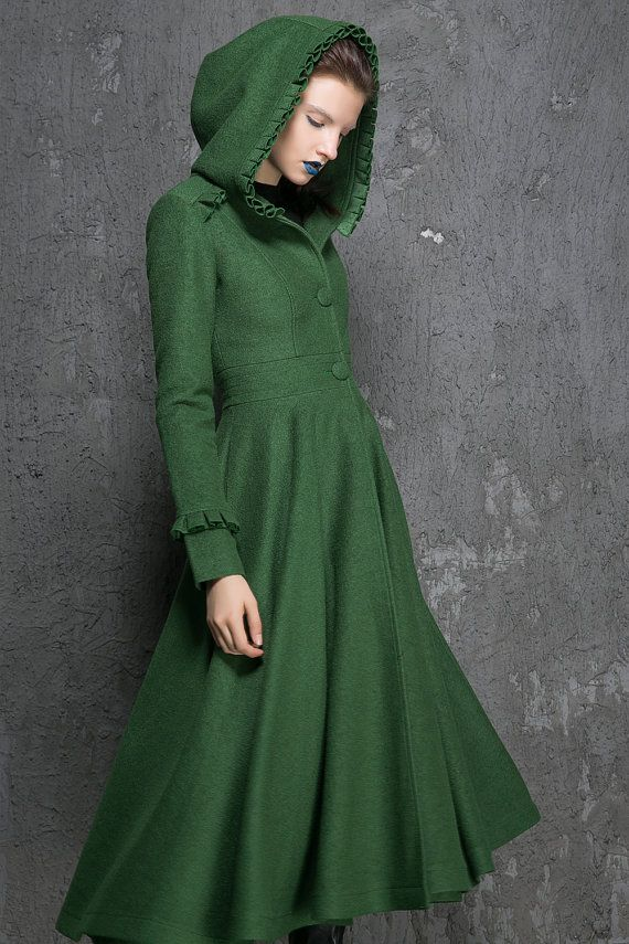 Womens Coats, Winter Coat, Emerald Green coat,fit and flare coat ...