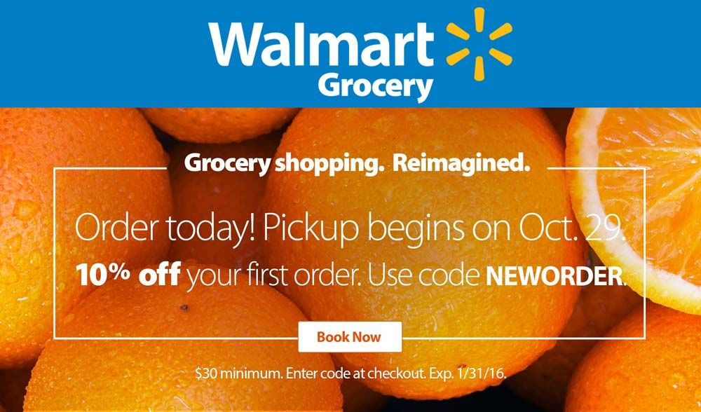 10 Off Store Pickup Of First Online Order At Walmart Grocery Via Promo Code Neworder Shopping Coupons Grocery Deals Walmart Grocery Coupon
