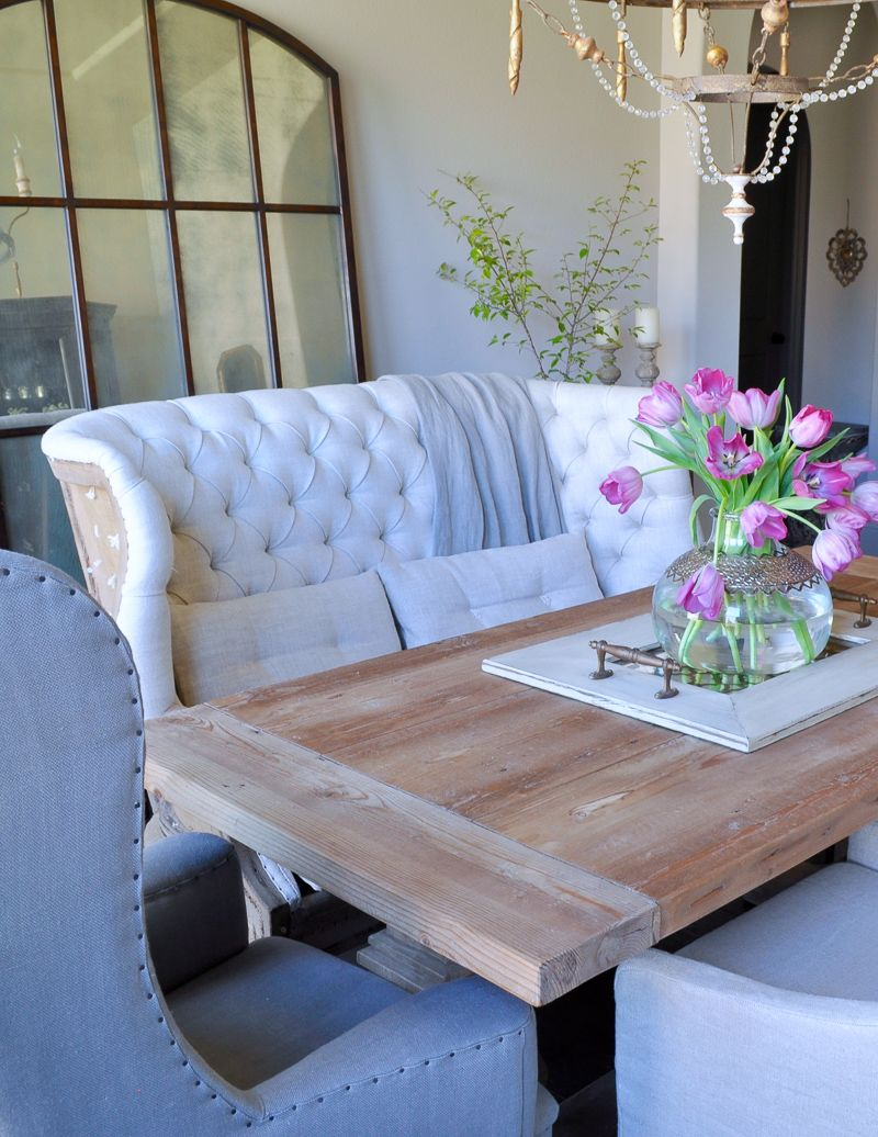 Love Mixed Seating At A Dining Room Table Like This Fabulous Settee!