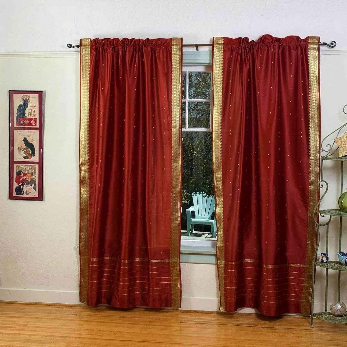 Rust Rod Pocket Sheer Sari Curtain Drape Panel Pair No