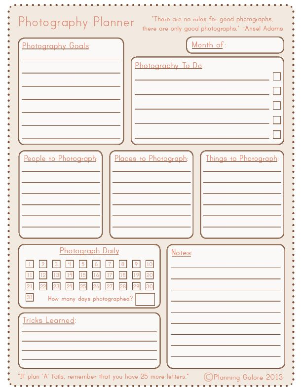 Planning Galore Free Photography Planner Printable