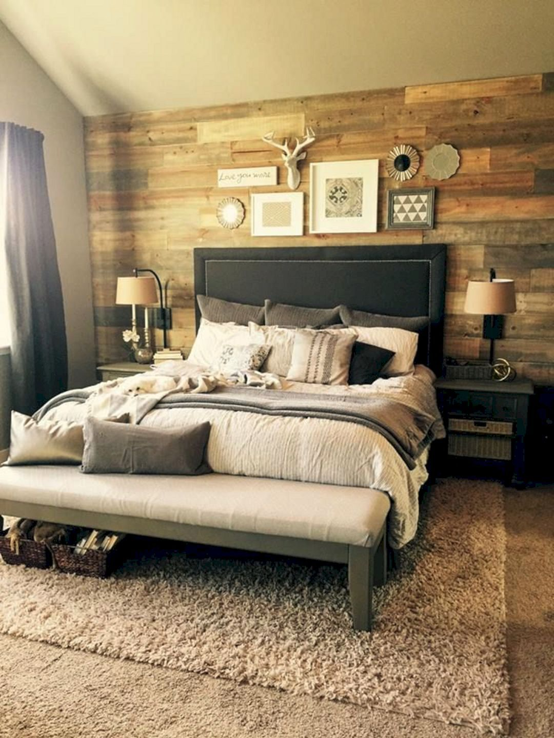 Large master bedroom decor ideas   Beautiful Bedroom Decorating With Shiplap Wall Ideas  Wall