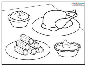 Lovely Thanksgiving Dinner Coloring Page