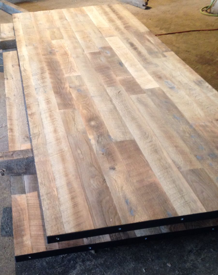 Reclaimed Wood Conference Table Tops Unfinished Wire Brushed Oak