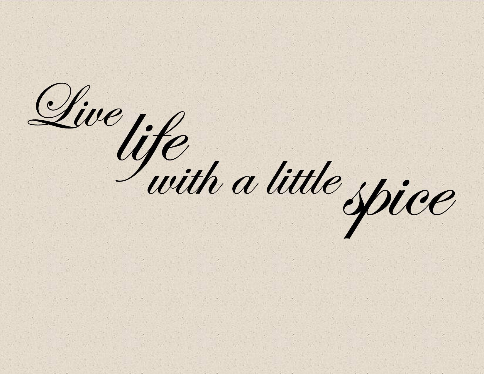 LIVE LIFE WITH A LITTLE SPICE Vinyl wall lettering cooking kitchen ...