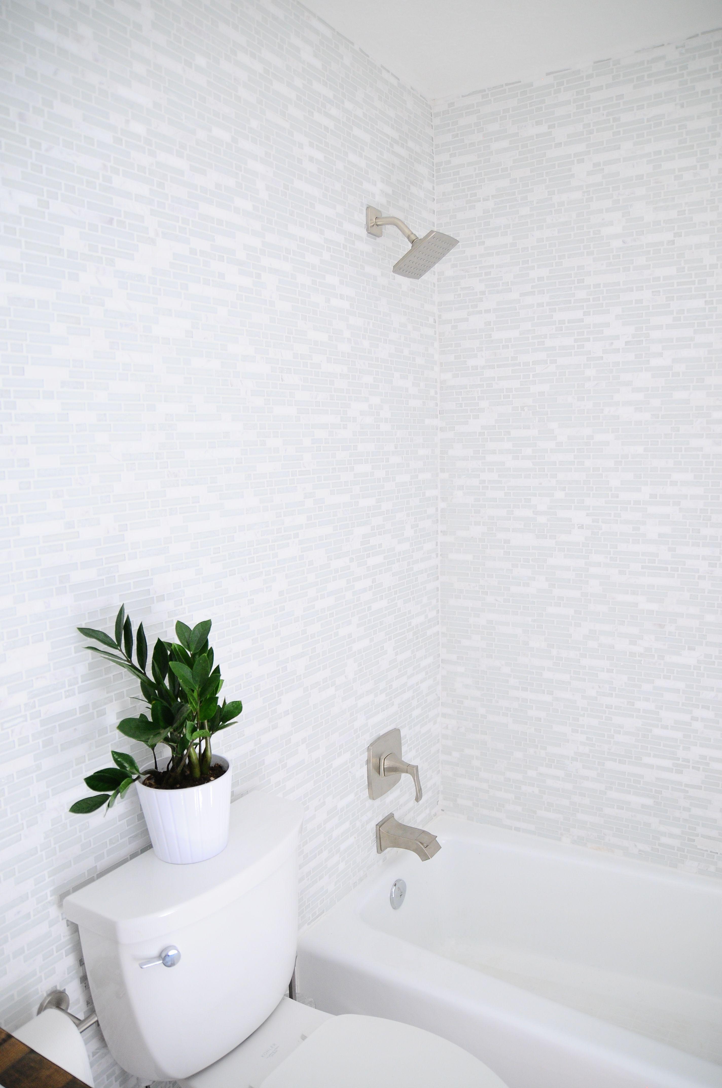 Home Depot Reno Floor To Ceiling Tile Make This Tiny Bath Feel - Bathroom ceiling tiles home depot for bathroom decor ideas