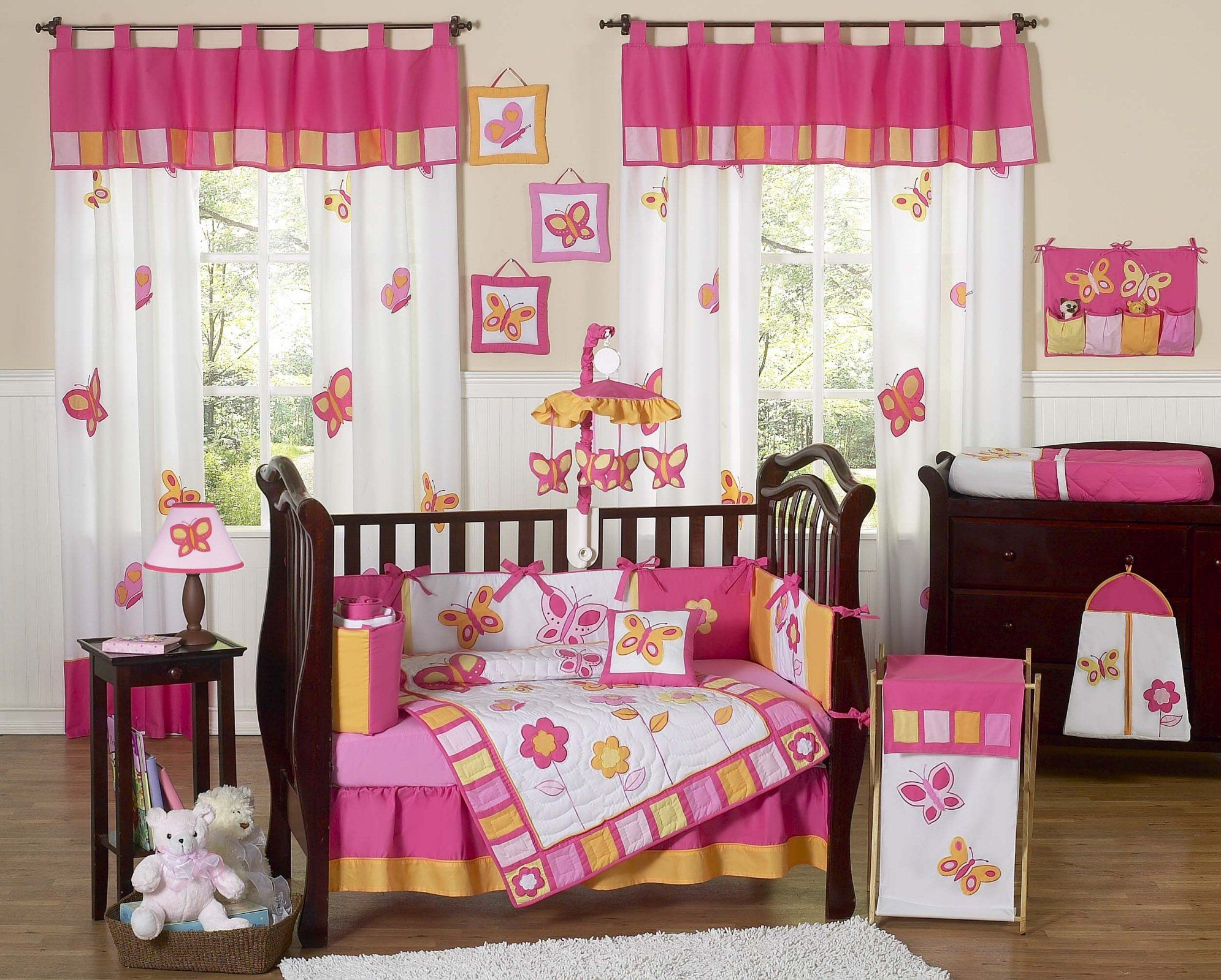 Orange And Hot Pink Baby Room Ideas Butterfly Baby Girl Crib