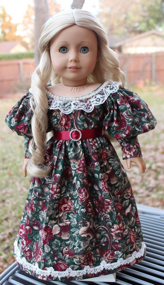 18 Doll Clothes Historical Romantic Era Gown For Christmas Fits American Girl Caroline #historicaldollclothes