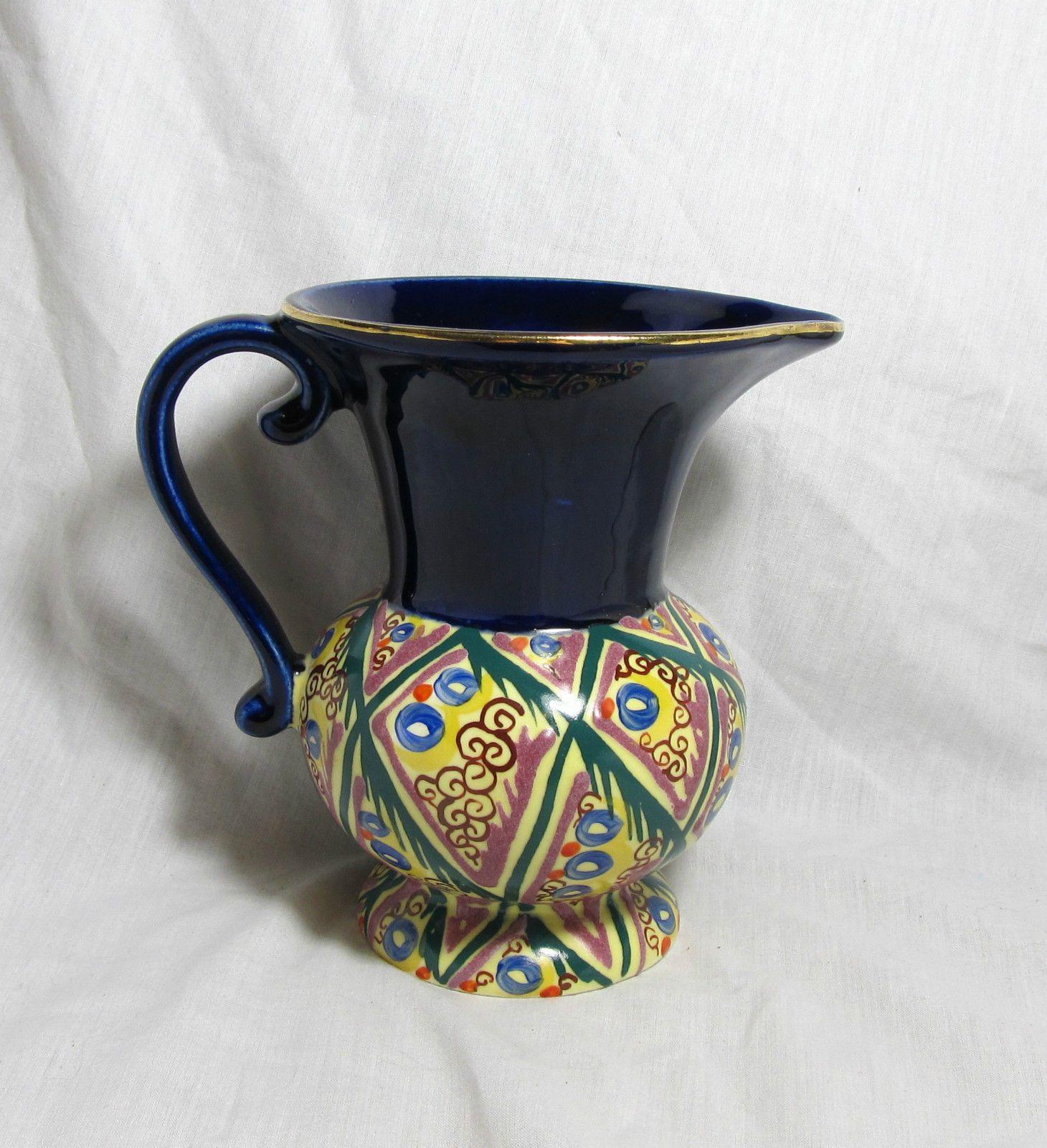 Vintage Czech Art Deco Lostro Ditmar Urbach Art Pottery 1 2 Liter Pitcher Signed | eBay