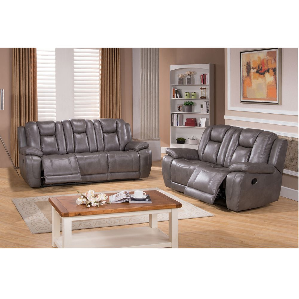 galaxy gray leather reclining sofa and loveseat overstock