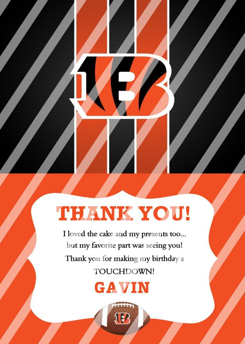 Cincinnati Bengals Personalized Digital Thank You Card #47 (any ...