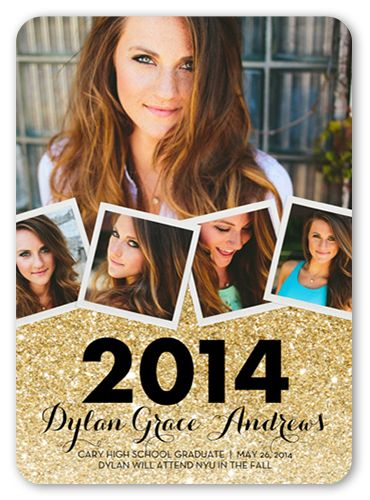 Graduation Announcements Glitter Collage Announcement Rounded