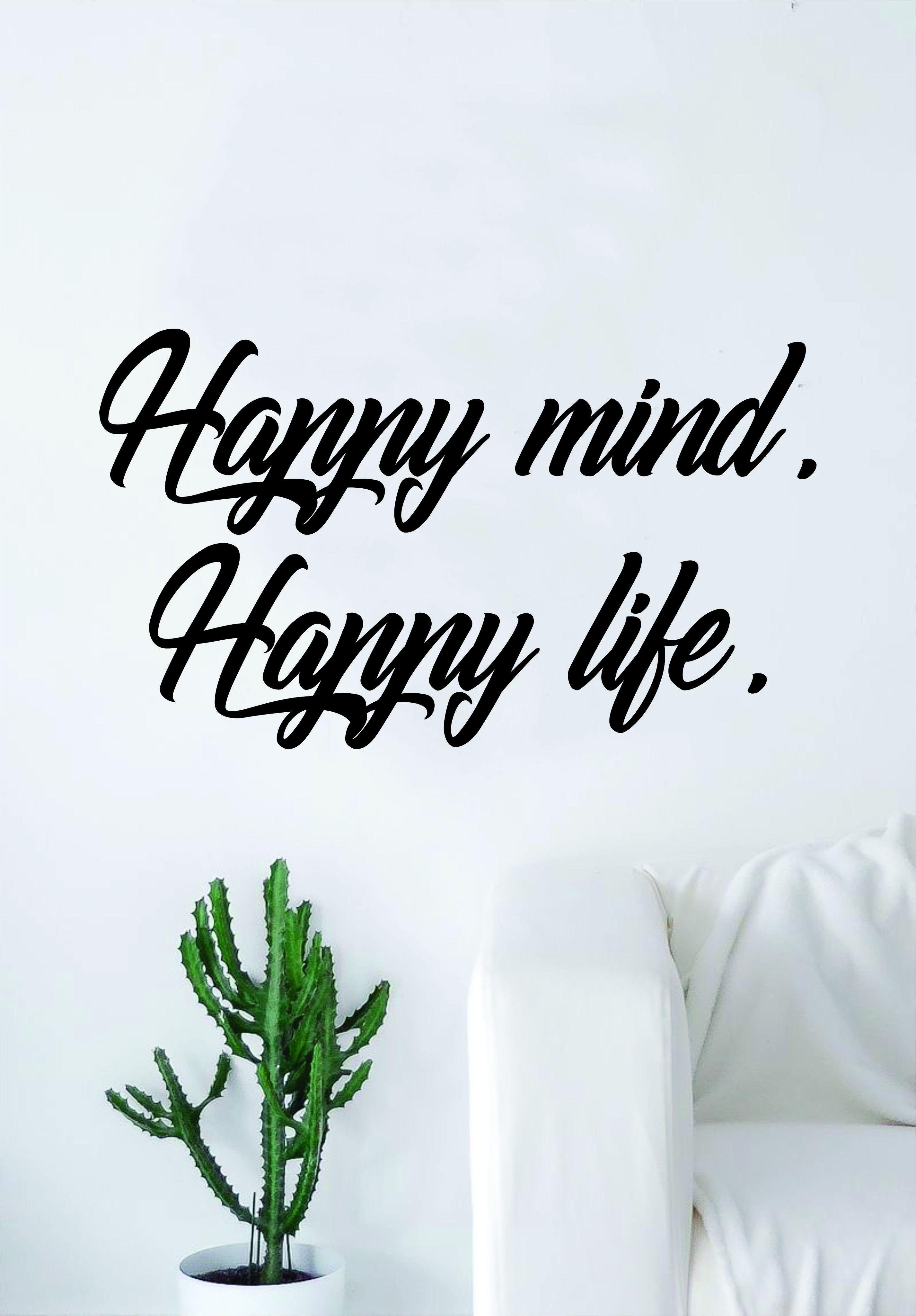 Happy Mind Happy Life Quote Wall Decal Sticker Bedroom Living Room Art Vinyl Beautiful Inspirational Yoga Buddha Zen - orange