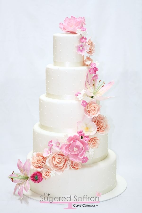 Sugar Flower Cascade Cake Wedding Cake Fresh Flowers Wedding