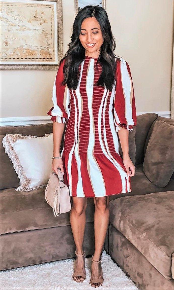 524cf53d5fe SHEIN Color Block Bishop Sleeve Smock Dress