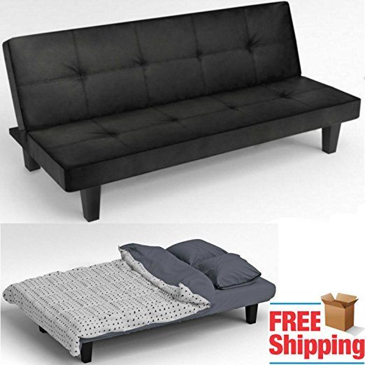 Click Clack Sofa Bed Black Faux Leather 2 3 Seater Modern Settee Double Couch E