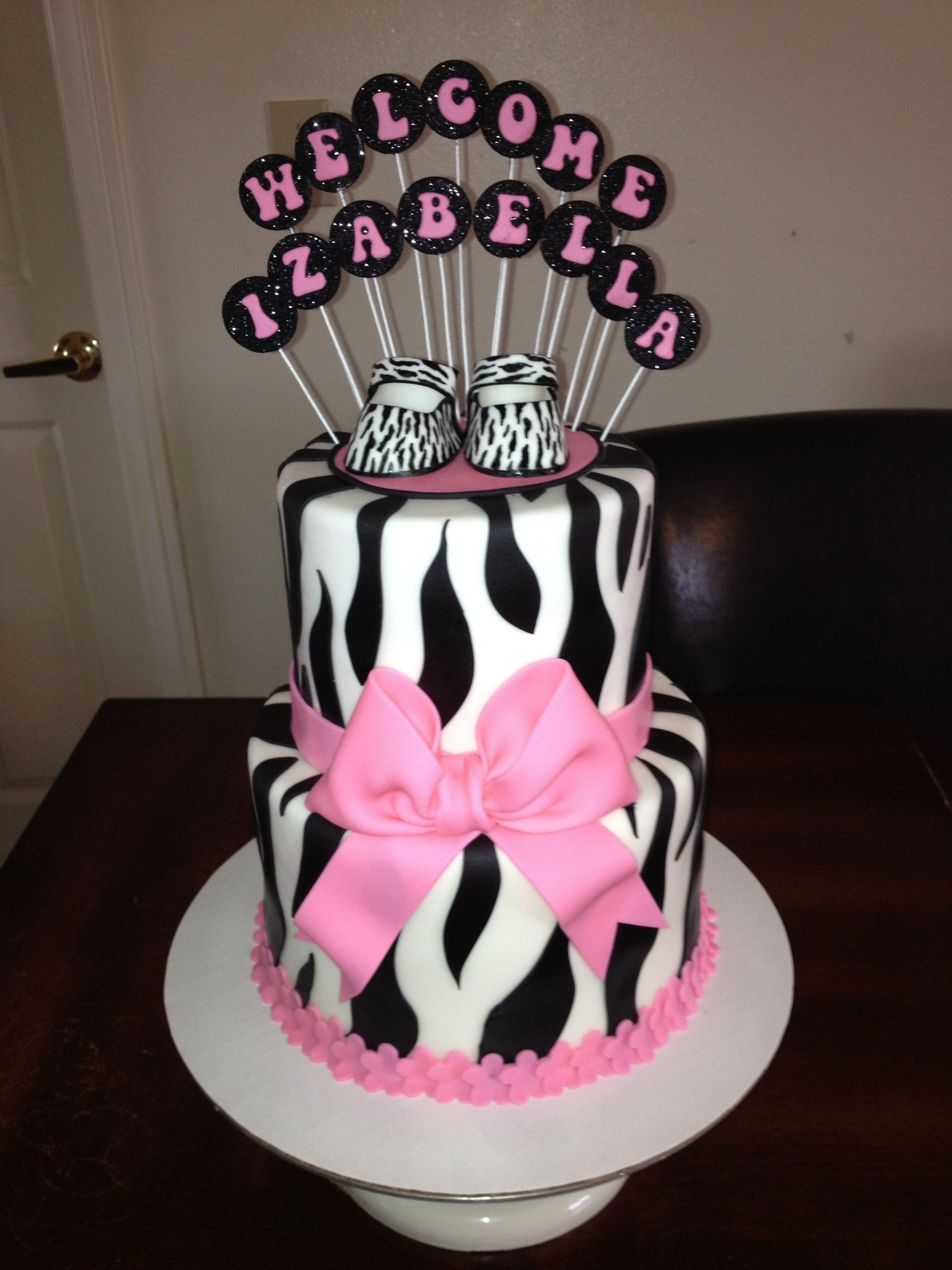 Pink Zebra Baby Shower Cake With Fondant Zebra Print Baby Shoes
