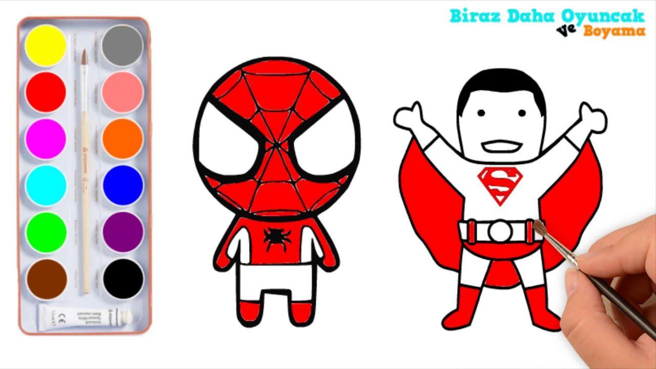 örümcek Adam Ve Süpermen Boyama çocuklar Için Boyama Videoları