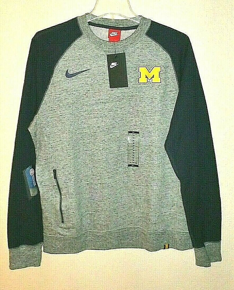 Um University Michigan Wolverines Nike Men Sz M Crew Sweatshirt Pullover Pocket Fashion With Images Long Sleeve Tshirt Men Pullover Sweatshirts Crew Sweatshirts [ 1000 x 807 Pixel ]