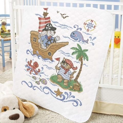Baby by Herrschners® Pre-Quilted Pirate Voyage Baby Quilt Stamped ... : stamped cross stitch baby quilt kits - Adamdwight.com