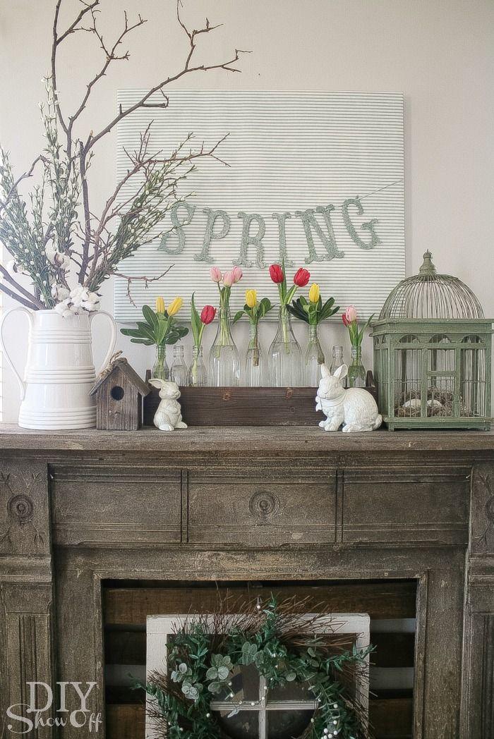Spring Mantel Decorating   DIY Show Off ™   DIY Decorating And Home  Improvement Blog. Künstlicher KaminOstern DekoDeko ...
