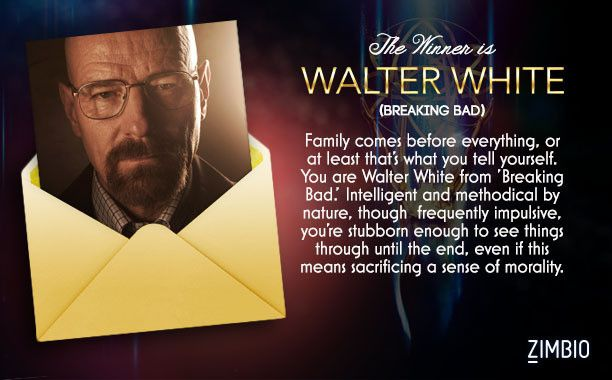 I'm Walter White in Zimbio's Emmy-nominated characters quiz.