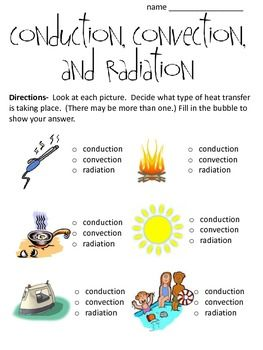 Conduction, Convection and Radiation Worksheet (with pictures) | qq ...