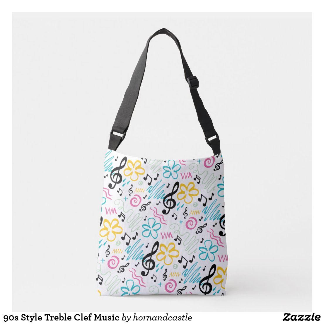 Crossbody music bag  notes purse  music purse  music notes bag  music notes  treble clef music pattern purse