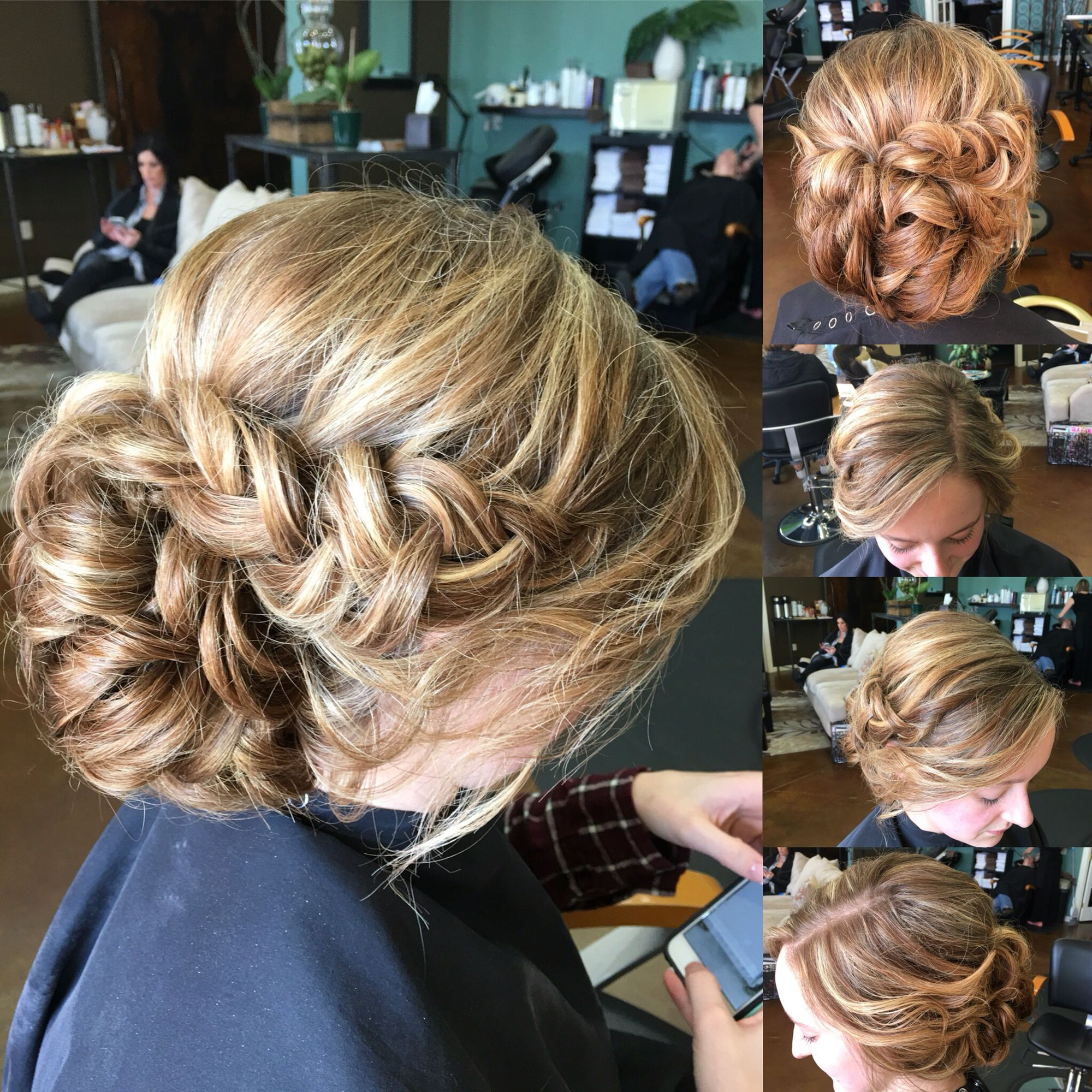 Loose low chignon/bun with side swept braid and pinned up ...