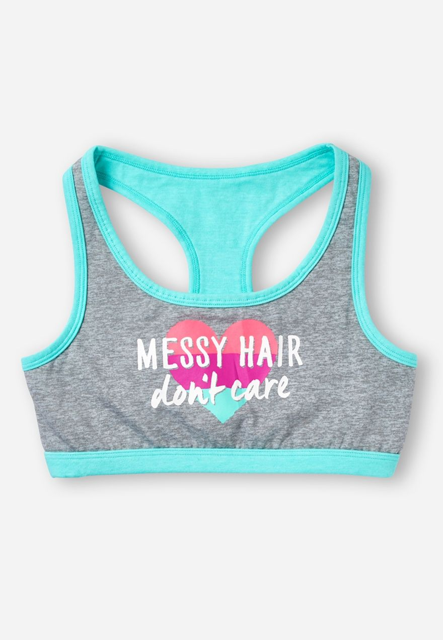 Messy Hair Don T Care Soft Bra Original Price 17 90 Available At Justice Kids Workout Clothes Girls Sports Clothes Girls Workout Clothes
