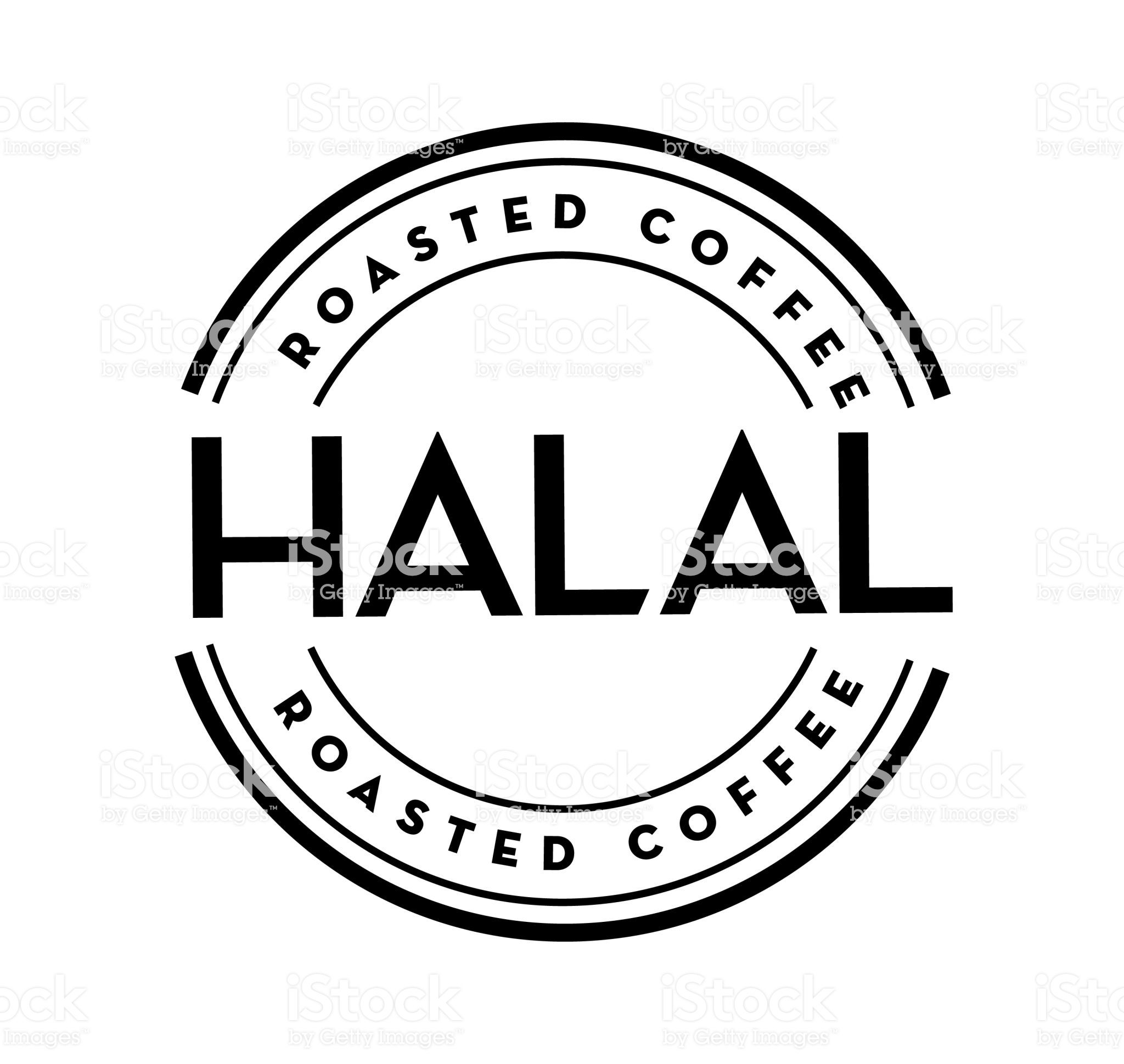 Vector illustration of a Coffee round label on coffee bean