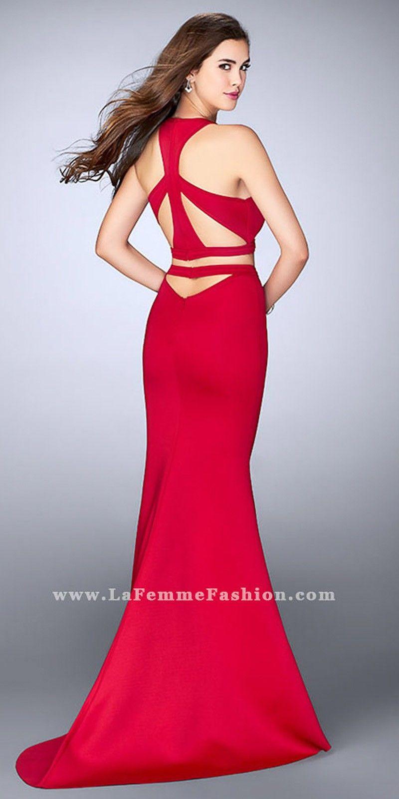 Two piece multi cut out neoprene prom dress by la femme in