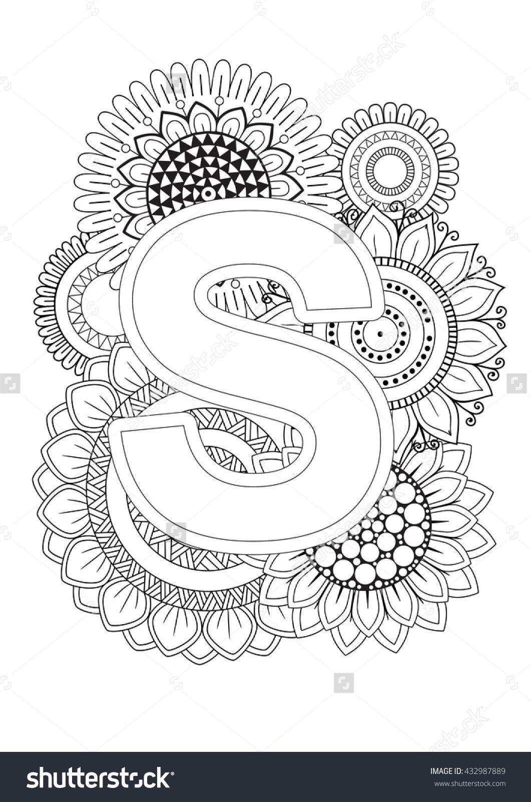 Doodle Floral Letters Coloring