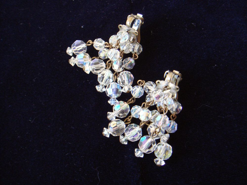 Vintage Crystal Earrings Cascading for Formal Wear by EyeSpyGoods on Etsy
