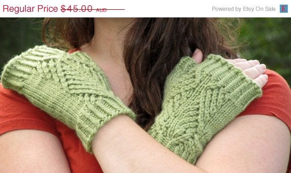 ON SALE One week only Hand-Knit Unisex Canadian Pine Fingerless Mitts/Gloves-100% Luxury Australian Superwash Wool/Merino-many colour choice...