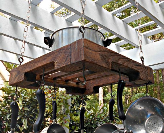 Style Rustic Hanging Pallet Rail Pot Rack The Item You See In These Photos Is Exact Will Receive When Ordered