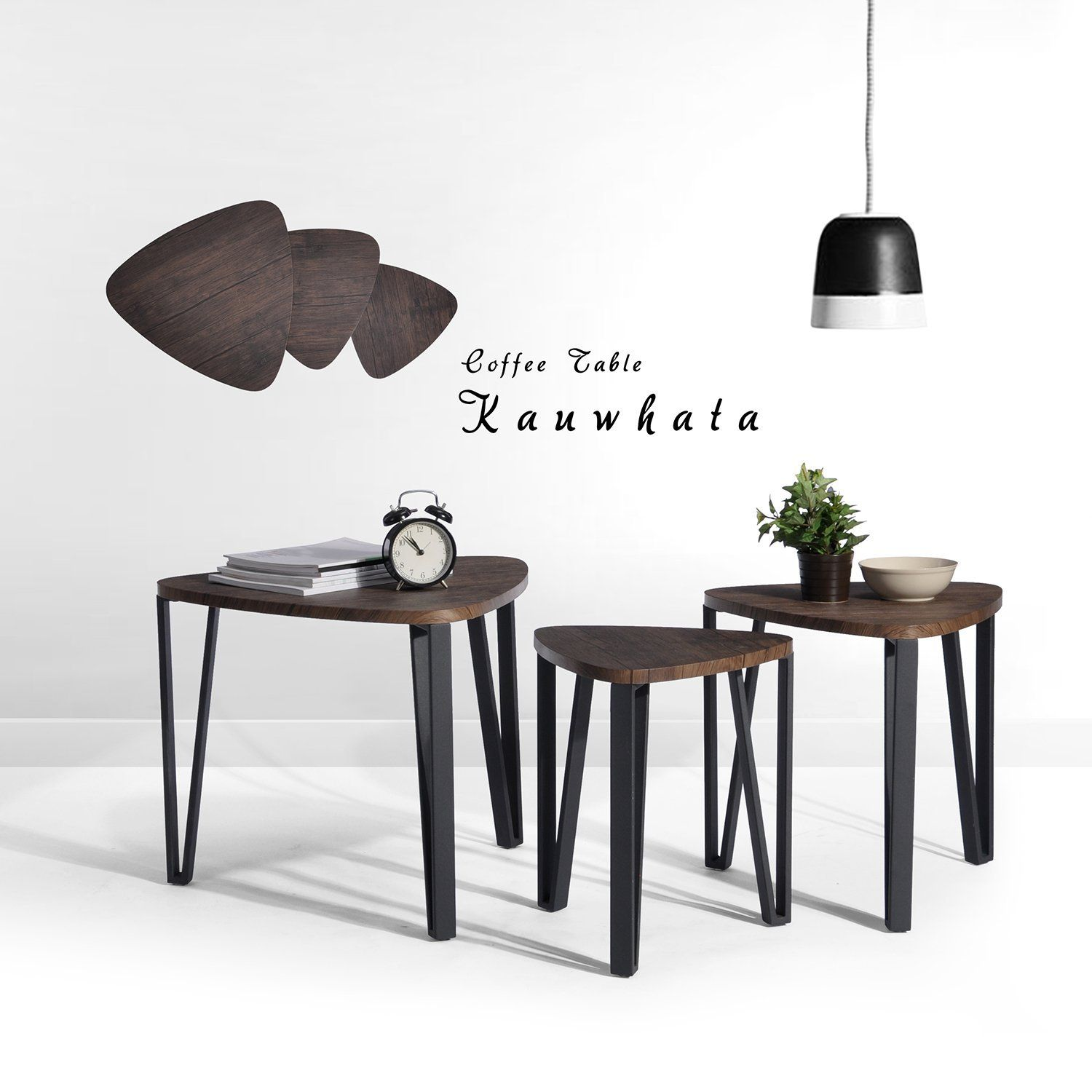Nest Of 3 Tables Wood Coffee Table Set End Side Table With Metal Leg Living Room Furniture Tables Coffee Table Living Room Side Table