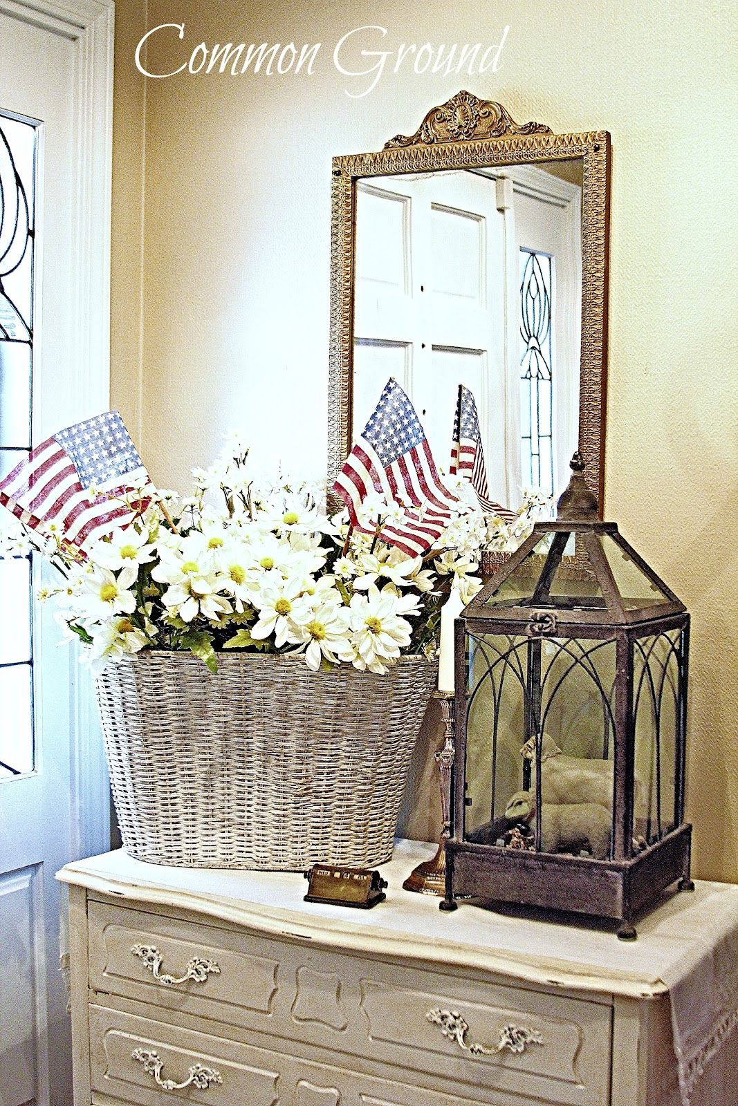 Patriotic entryway vignette stars and stripes holidays pinterest