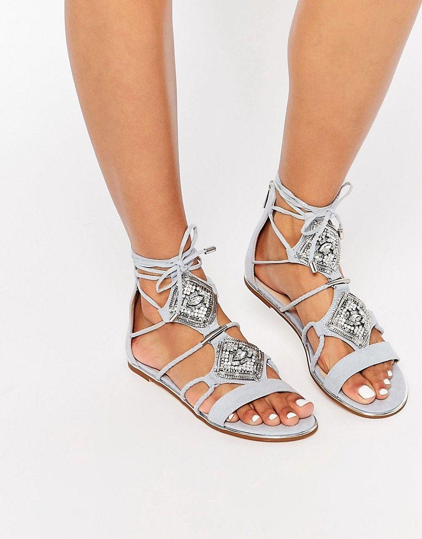 Image 1 of River Island Embellished Tie Up Flat Sandal