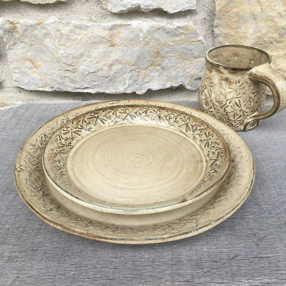Dragonfly pottery dinnerware set with embossed dragonflies by DragonflyPotteryCom on Etsy & Dragonfly 4pc pottery dinnerware set with embossed dragonflies ...