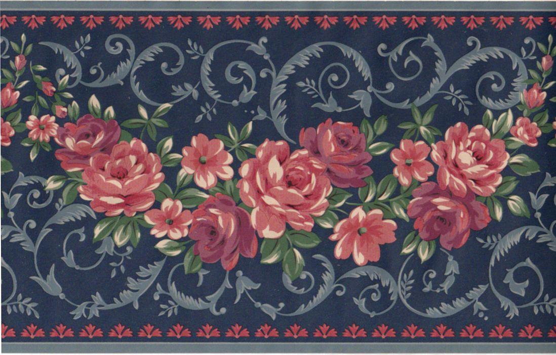 Victorian Burgundy Floral Flower Wallpaper Border