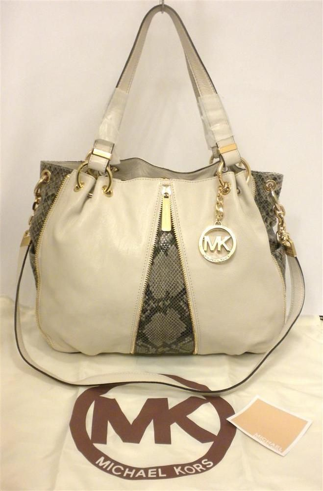 550365cbdb16 NWT Michael Kors Newman Lg White Leather Convertible Shoulder Tote Sand  Python #MichaelKors #ShoulderBagconvertibletote