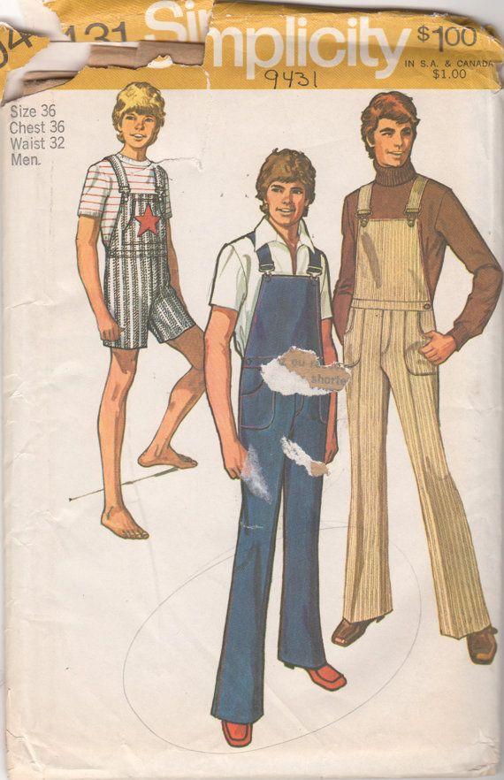 Simplicity 794311970s Mens Bib Overalls Pattern Jumpsuit Coveralls ...